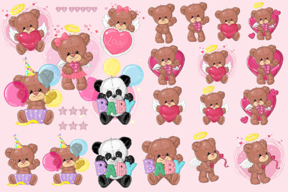 Print on Demand: Cute Teddy Bears Big Set Graphic Illustrations By ladymishka