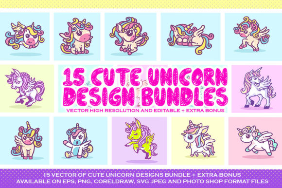 Download Free Cute Unicorn Vector Design Bundle Graphic By Fluffyartstudio for Cricut Explore, Silhouette and other cutting machines.