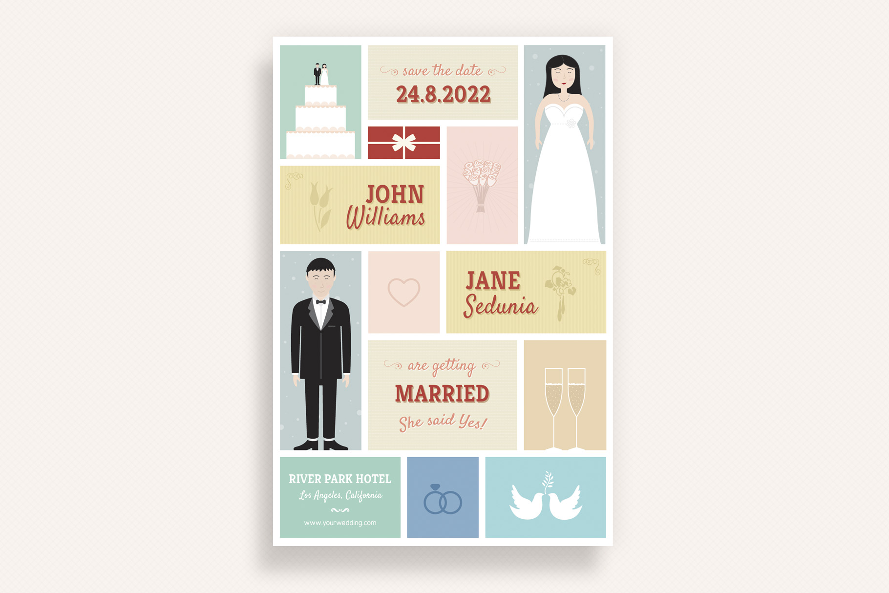 Download Free Cute Wedding And Invitation Card V01 Graphic By Sargatal for Cricut Explore, Silhouette and other cutting machines.