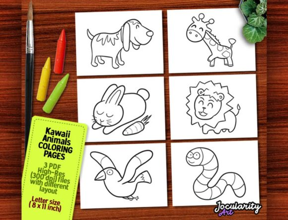 Cute and Kawaii Animals Coloring Pages Graphic Coloring Pages & Books Kids By JocularityArt