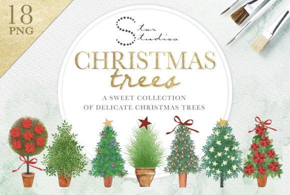 Delicate Christmas Trees Graphic Illustrations By starstudiooriginals