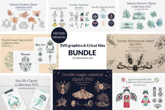 Download Free Doodle Graphics Cricut Files Bundle Graphic By Tatyana Zenartist Creative Fabrica for Cricut Explore, Silhouette and other cutting machines.