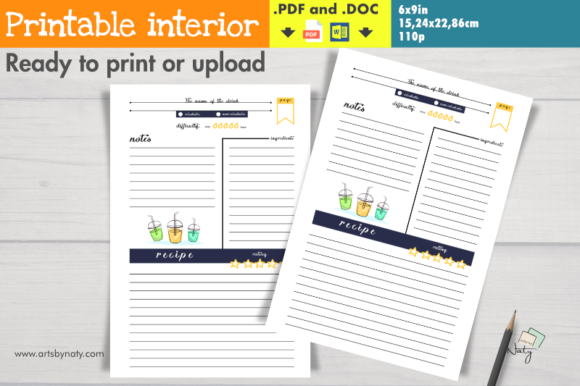 Print on Demand: Drink Recipe Notebook, Colored Clipart. Graphic KDP Interiors By artsbynaty