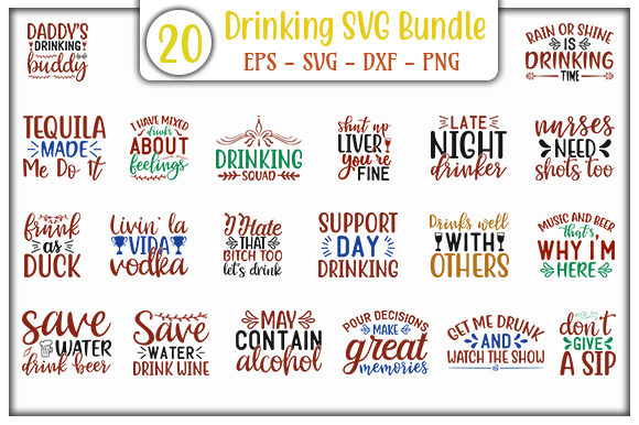 Download Free Drinking Design Bundle Graphic By Graphicsbooth Creative Fabrica for Cricut Explore, Silhouette and other cutting machines.