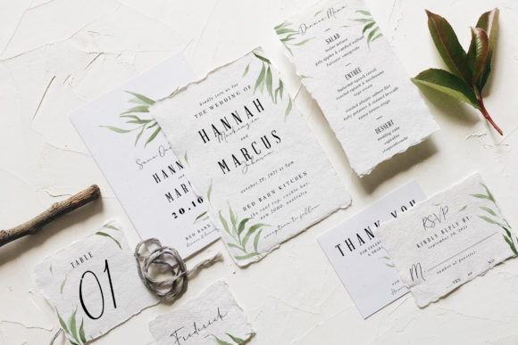 Print on Demand: Dusty Green Foliage Wedding Suite Graphic Print Templates By Blue Robin Design Shop