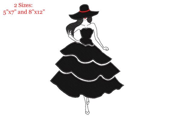 Print on Demand: Elegant Woman in Flared Dress Applique Clothing Embroidery Design By Embroidery Shelter