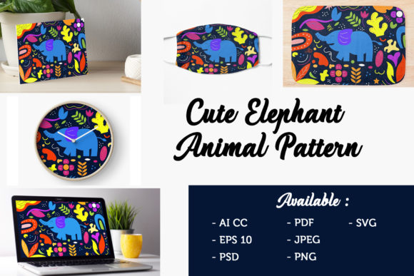 Download Free Elephant Kids Pattern Graphic By Griyolabs Creative Fabrica for Cricut Explore, Silhouette and other cutting machines.