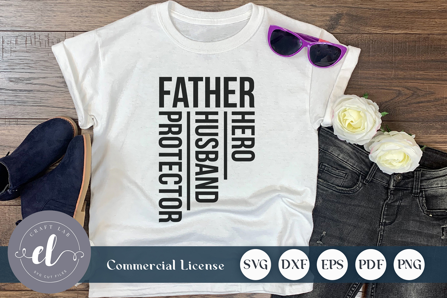 Download Free Father Hero Husband Protector Graphic By Craftlabsvg Creative for Cricut Explore, Silhouette and other cutting machines.