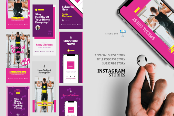 Download Free Fitness Podcast Ig Stories Post Keynot Graphic By Rivatxfz for Cricut Explore, Silhouette and other cutting machines.