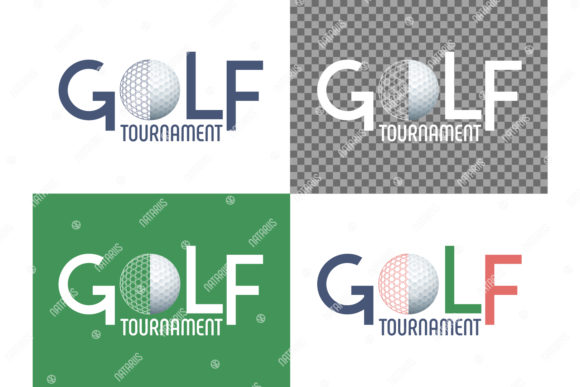 Golf Tournament Sign with Golf Ball. Graphic Illustrations By Natariis Studio