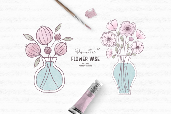 Print on Demand: Hand-drawn Flower Clipart in Pink Graphic Illustrations By Wallifyer