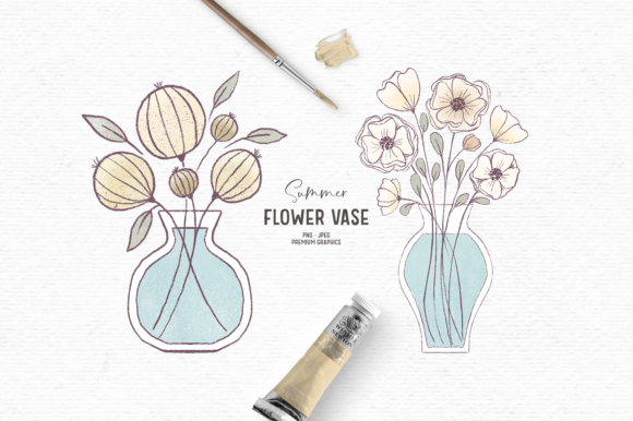 Print on Demand: Hand-drawn Flower Clipart in Yellow Graphic Illustrations By Wallifyer