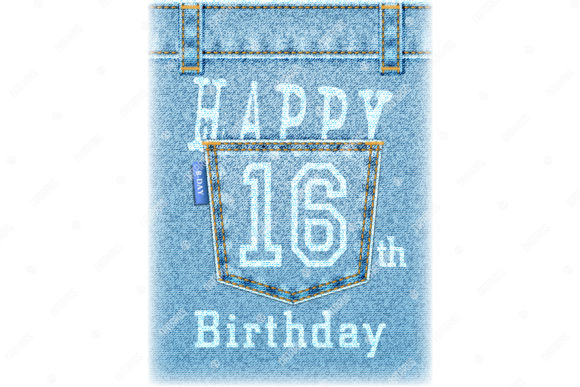 Happy 16th Birthday Greeting Card. Graphic Illustrations By Natariis Studio