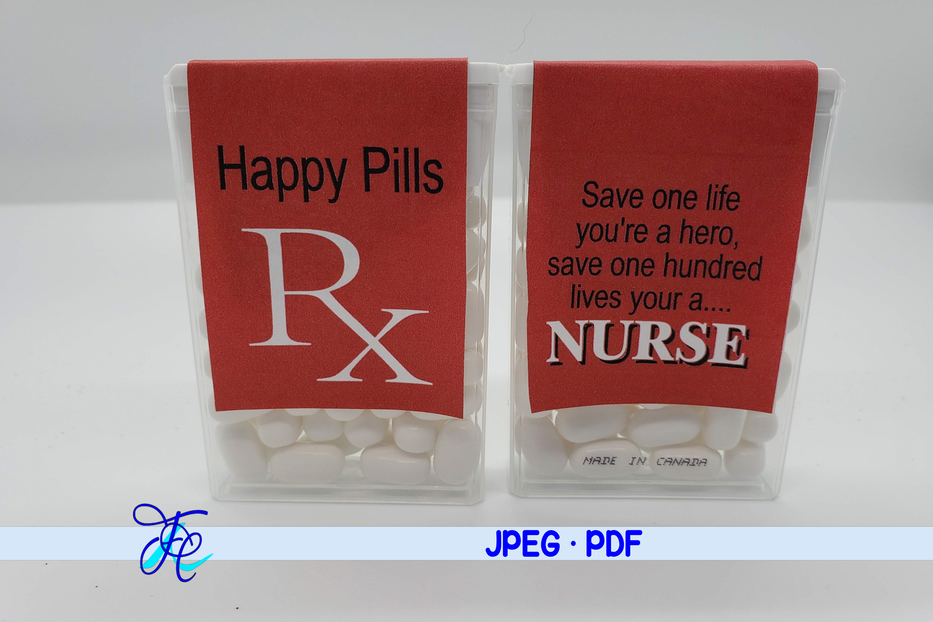 Download Free Happy Pills Rx Red Tic Tac Label Graphic By Family Creations for Cricut Explore, Silhouette and other cutting machines.