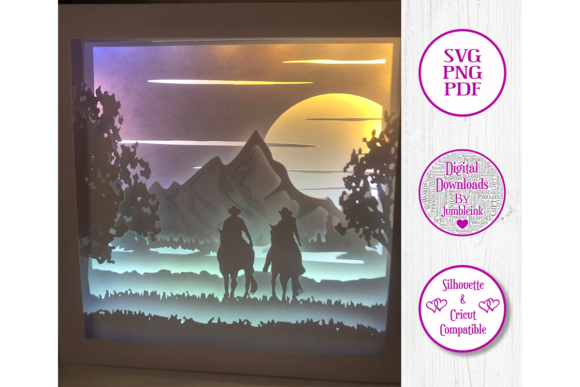 Horse Riding 3D Paper Cut Shadow Box Graphic