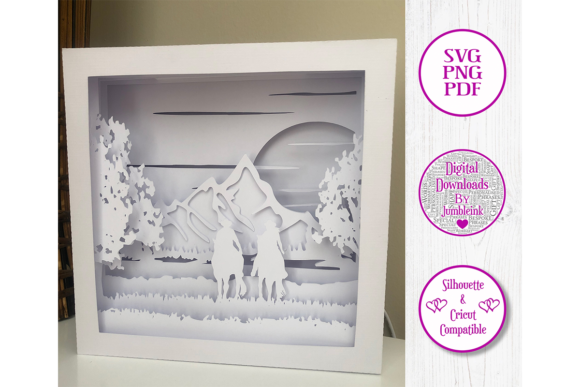 Horse Riding 3D Paper Cut Shadow Box Graphic Item