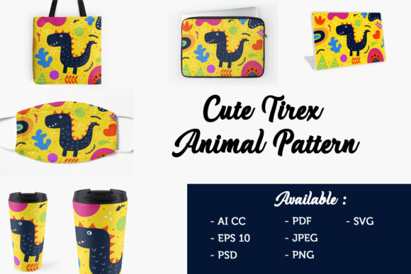 Download Free Illustration Art T Rex Pattern Graphic By Griyolabs Creative for Cricut Explore, Silhouette and other cutting machines.