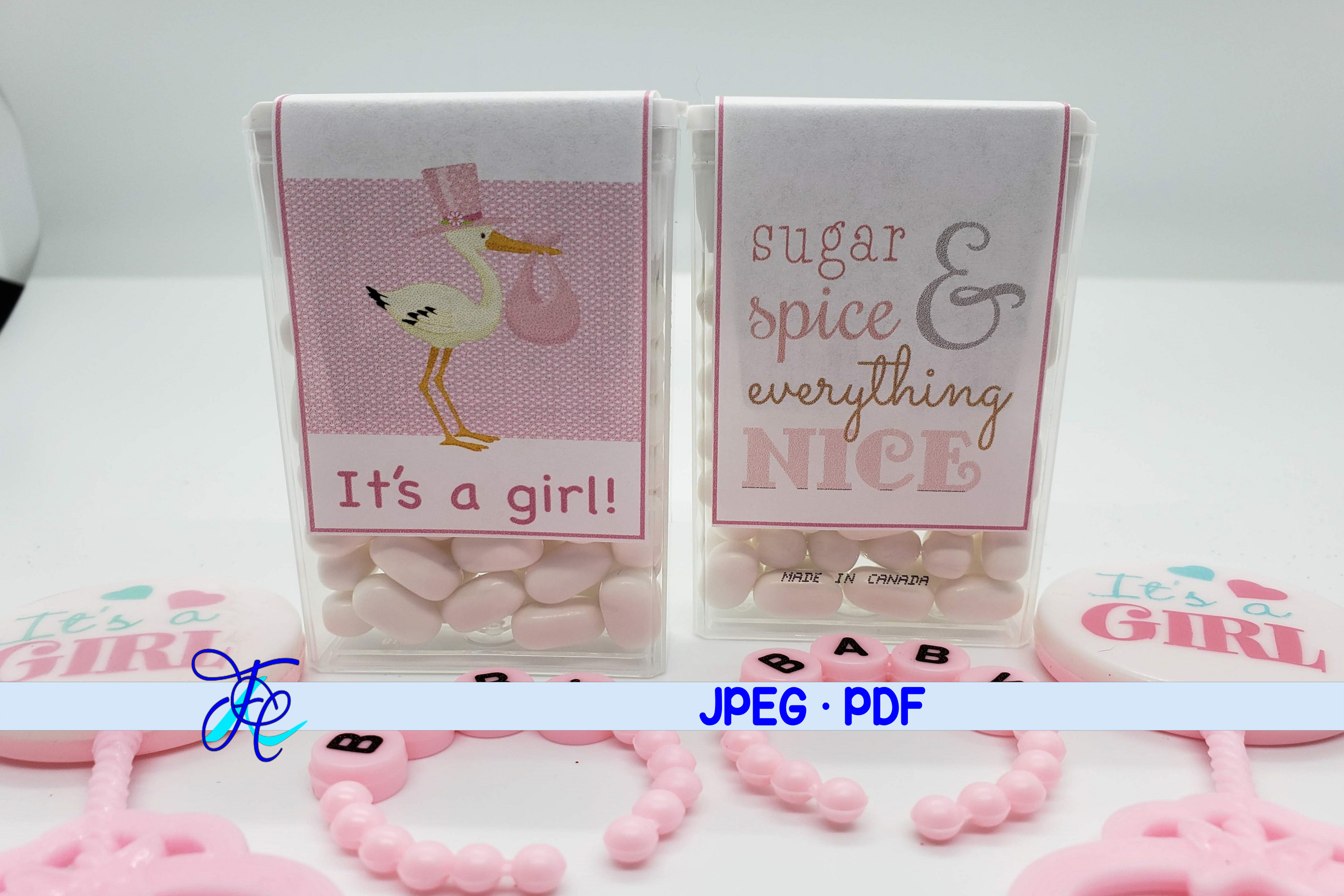 Download Free It S A Girl Tic Tac Label Graphic By Family Creations for Cricut Explore, Silhouette and other cutting machines.