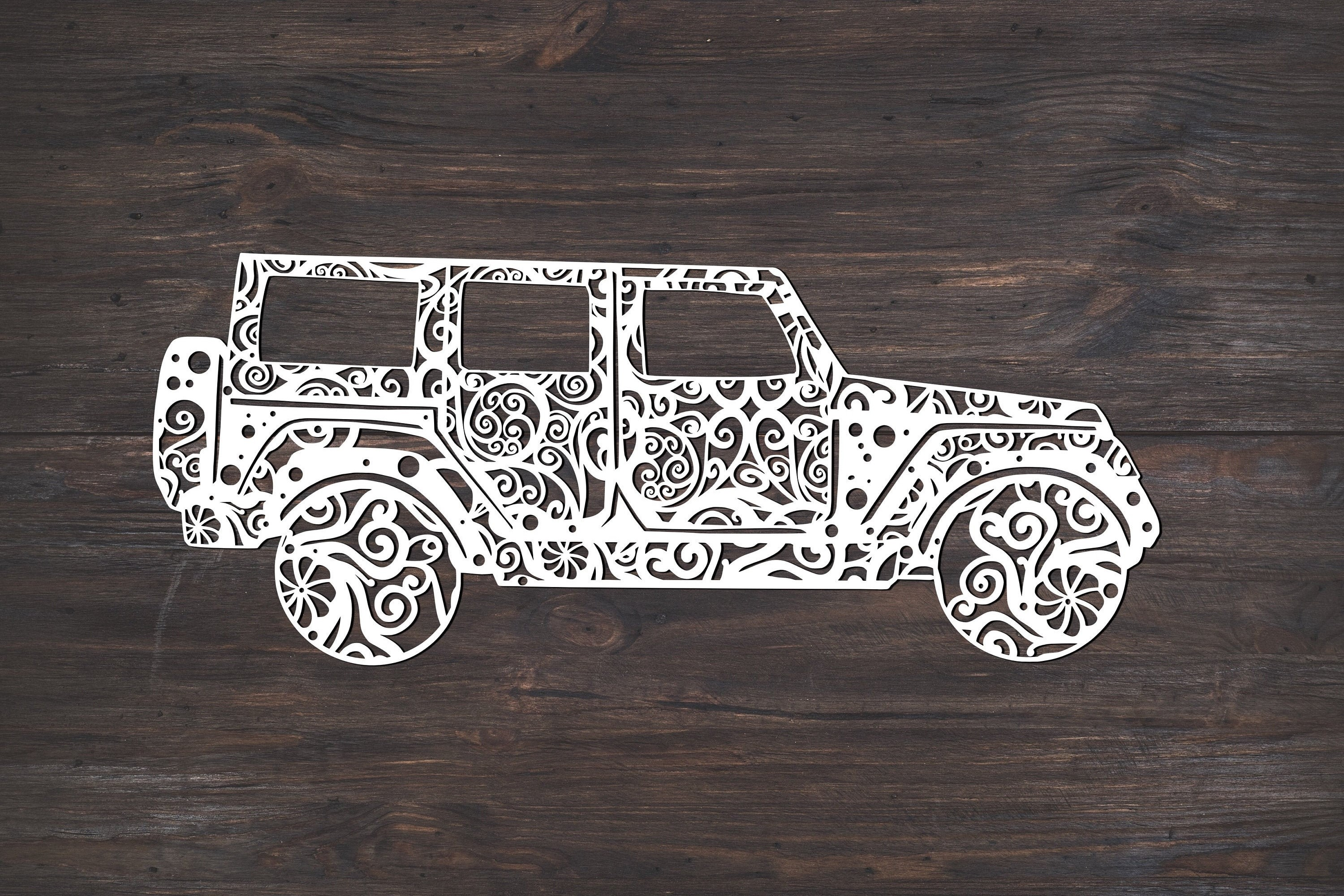 Download Free Jeep Mandala Graphic By Fortunasvg Creative Fabrica for Cricut Explore, Silhouette and other cutting machines.