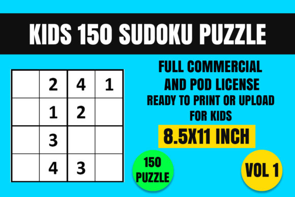 Print on Demand: Kids 150 Sudoku Puzzle Book(4x4) Vol. 1 Graphic Coloring Pages & Books Kids By Creative_Design