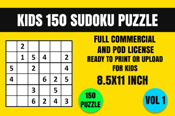Download Free Kids 150 Sudoku Puzzle Book 6x6 Vol 1 Graphic By for Cricut Explore, Silhouette and other cutting machines.
