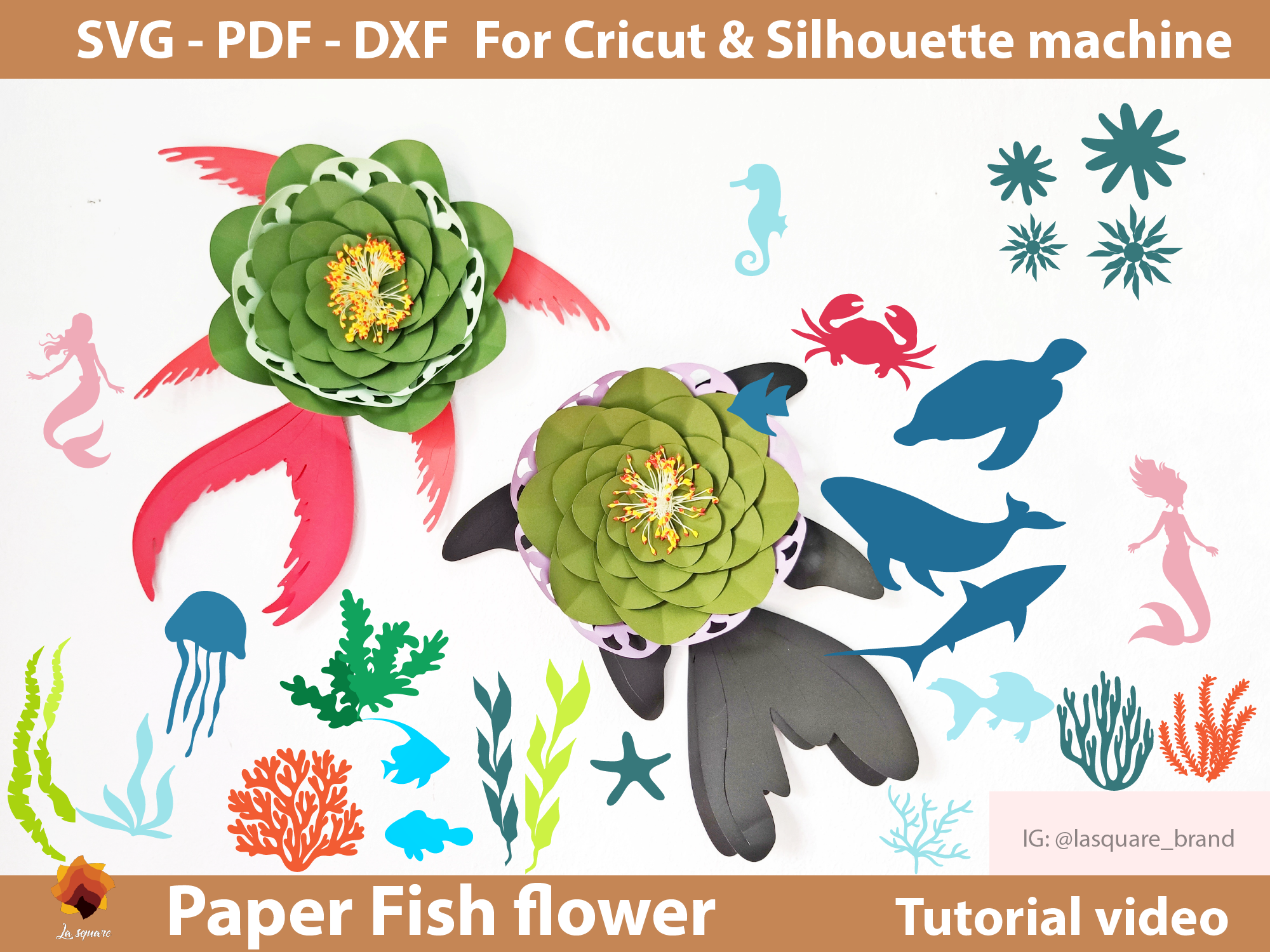 Download Free Lace Fish Paper Flower Backdrop Template Graphic By Lasquare for Cricut Explore, Silhouette and other cutting machines.