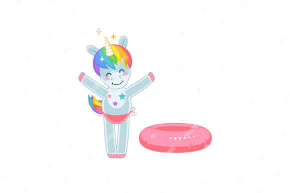 Download Free Little Unicorn With Inflatable Toy Graphic By Natariis Studio for Cricut Explore, Silhouette and other cutting machines.