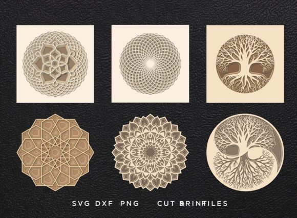 Mandalas Cut Files Bundle Gráfico SVG en 3D Por 2dooart