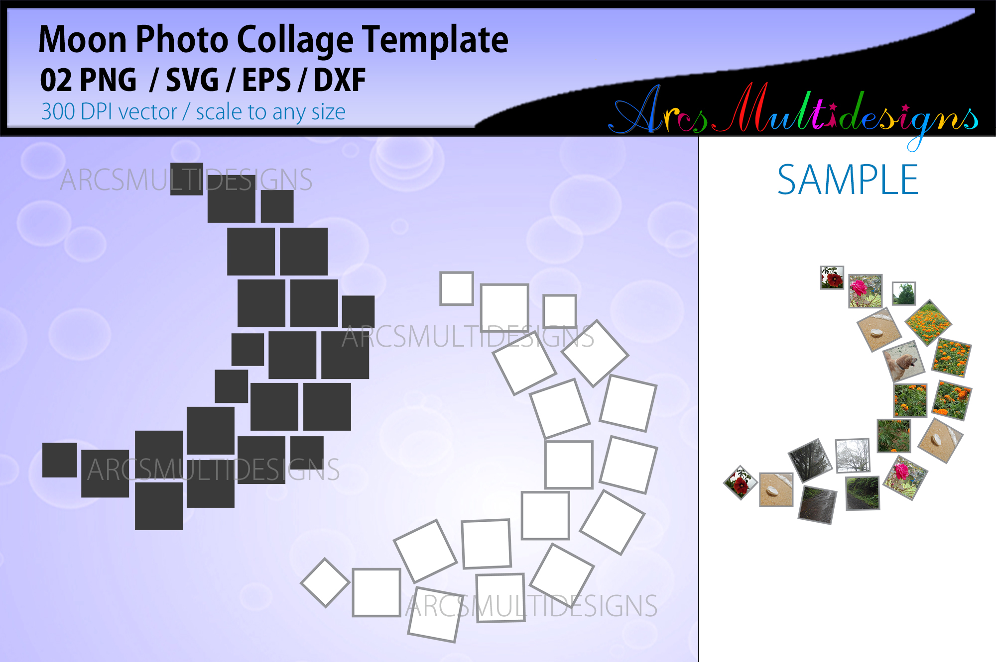 Moon Photo Collage Template SVG File