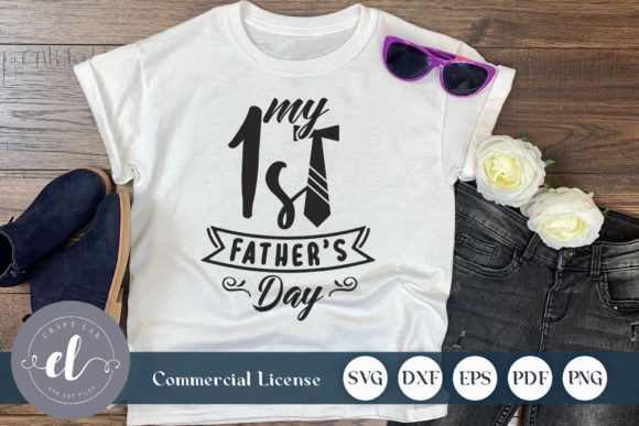 Download Free My 1st Father S Day Graphic By Craftlabsvg Creative Fabrica for Cricut Explore, Silhouette and other cutting machines.