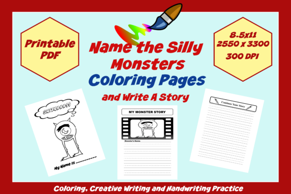Download Free Name The Silly Monster Coloring Pages Graphic By Jmb Creative for Cricut Explore, Silhouette and other cutting machines.