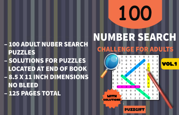 Number Search Puzzle Graphic KDP Interiors By PuzzleSlayer
