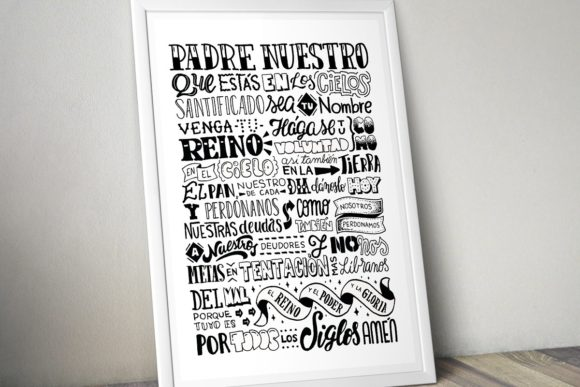 Download Free Padre Nuestro Lettering Poster Graphic By Francofuentes for Cricut Explore, Silhouette and other cutting machines.