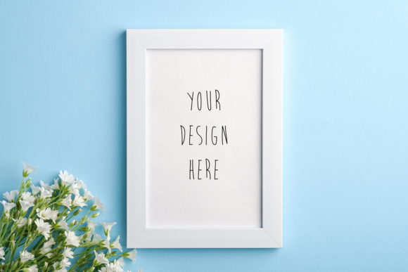 Print on Demand: Photo Frame Mockup with Flowers Graphic Product Mockups By frostroomhead