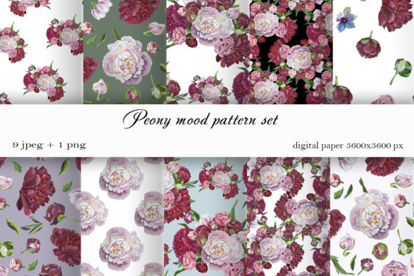 Download Free Pink Flower Digital Paper Peonies Graphic By Elenazlataart for Cricut Explore, Silhouette and other cutting machines.
