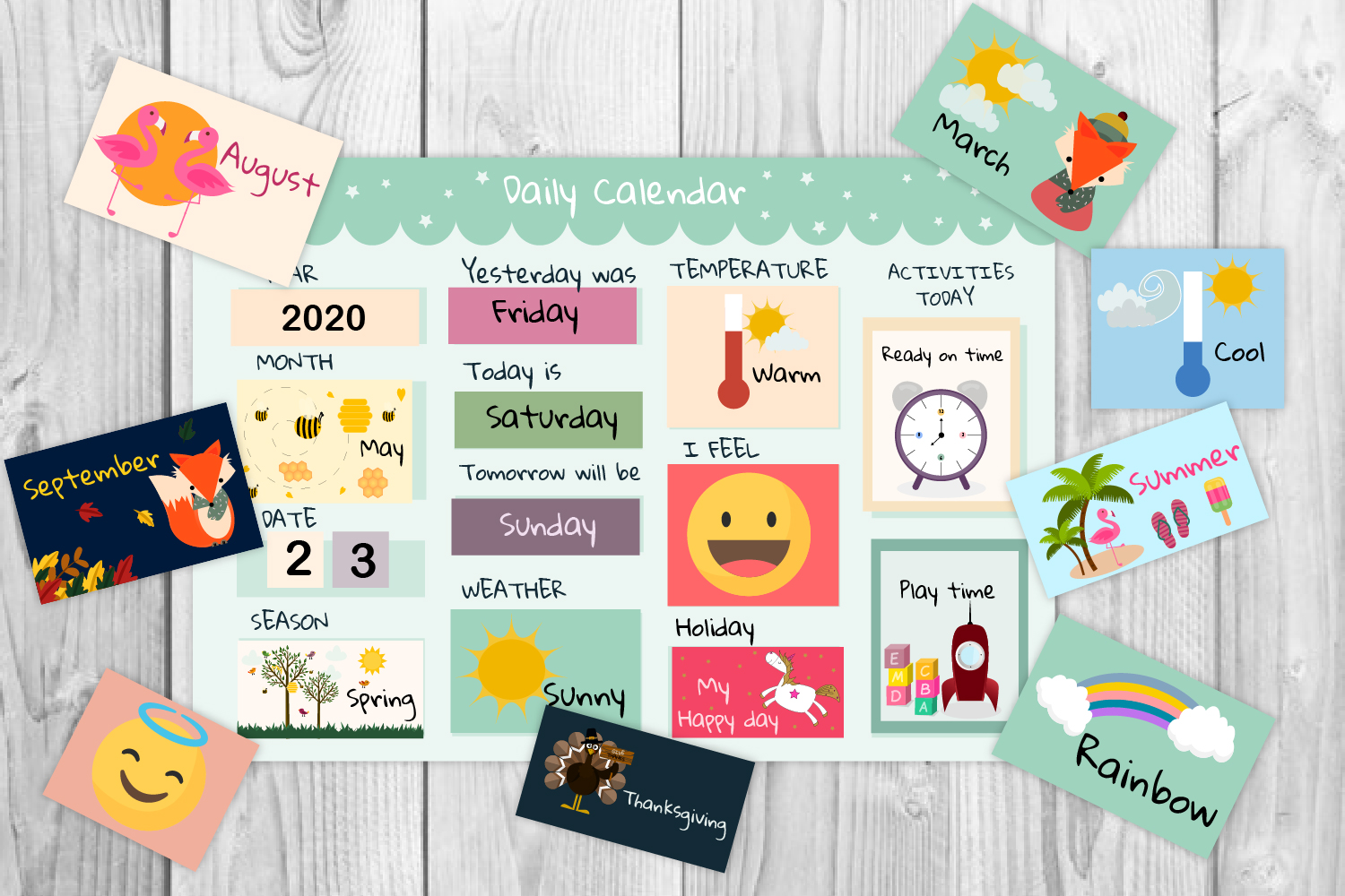Download Free Printable Kids Calendar Graphic By Igraphic Studio Creative for Cricut Explore, Silhouette and other cutting machines.