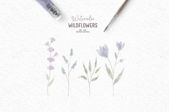 Print on Demand: Purple Watercolor Floral Clipart Graphic Illustrations By Wallifyer