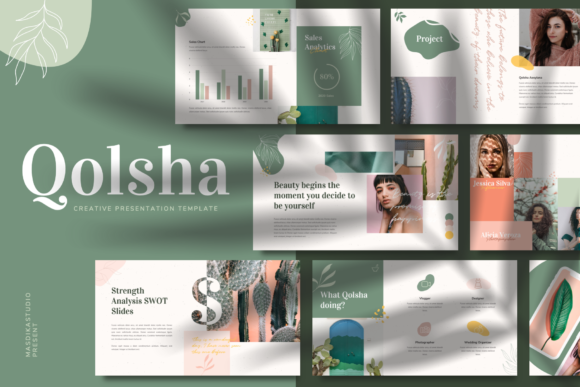 Download Free Qolsha Creative Powerpoint Template Graphic By Masdikastudio for Cricut Explore, Silhouette and other cutting machines.