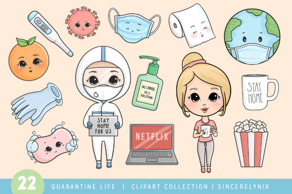 Quarantine Chibi Printable Cute Clipart Graphic Illustrations By SincerelyNix