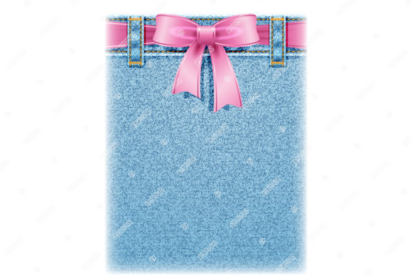 Realistic Denim Texture with Pink Bow. Graphic Backgrounds By Natariis Studio