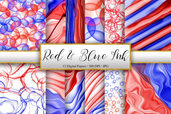 Red and Blue Abstract Ink Background Graphic Backgrounds By PinkPearly