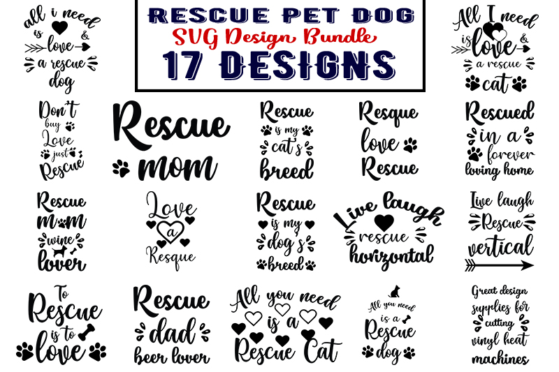 Download Free Rescue Pet Dog Bundle Graphic By Design Store Creative Fabrica for Cricut Explore, Silhouette and other cutting machines.