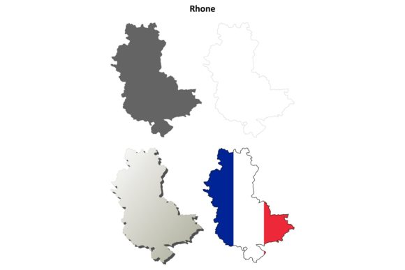 Download Free Rhone Outline Map Set Graphic By Davidzydd Creative Fabrica for Cricut Explore, Silhouette and other cutting machines.