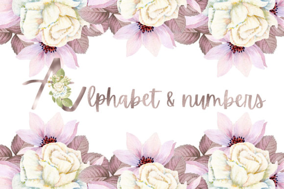 Print on Demand: Rose Gold  Alphabet and Numbers Graphic Illustrations By Andreea Eremia Design