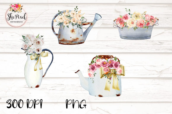 Print on Demand: Rustic Vintage Vases with Flowers Graphic Illustrations By ShePixel
