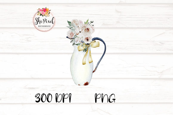 Download Free Rustic Vintage Vases With Flowers Graphic By Shepixel Creative for Cricut Explore, Silhouette and other cutting machines.