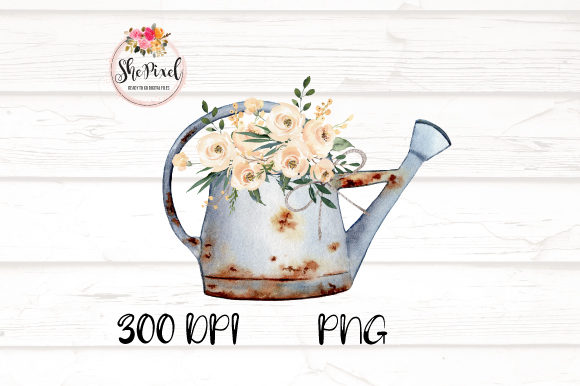 Print on Demand: Rustic Vintage Vases with Flowers Graphic Illustrations By ShePixel - Image 3