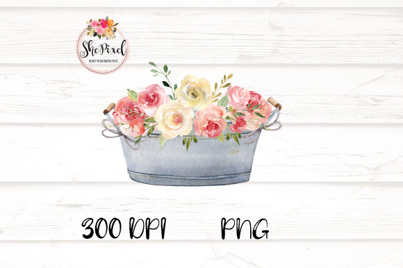 Print on Demand: Rustic Vintage Vases with Flowers Graphic Illustrations By ShePixel - Image 5