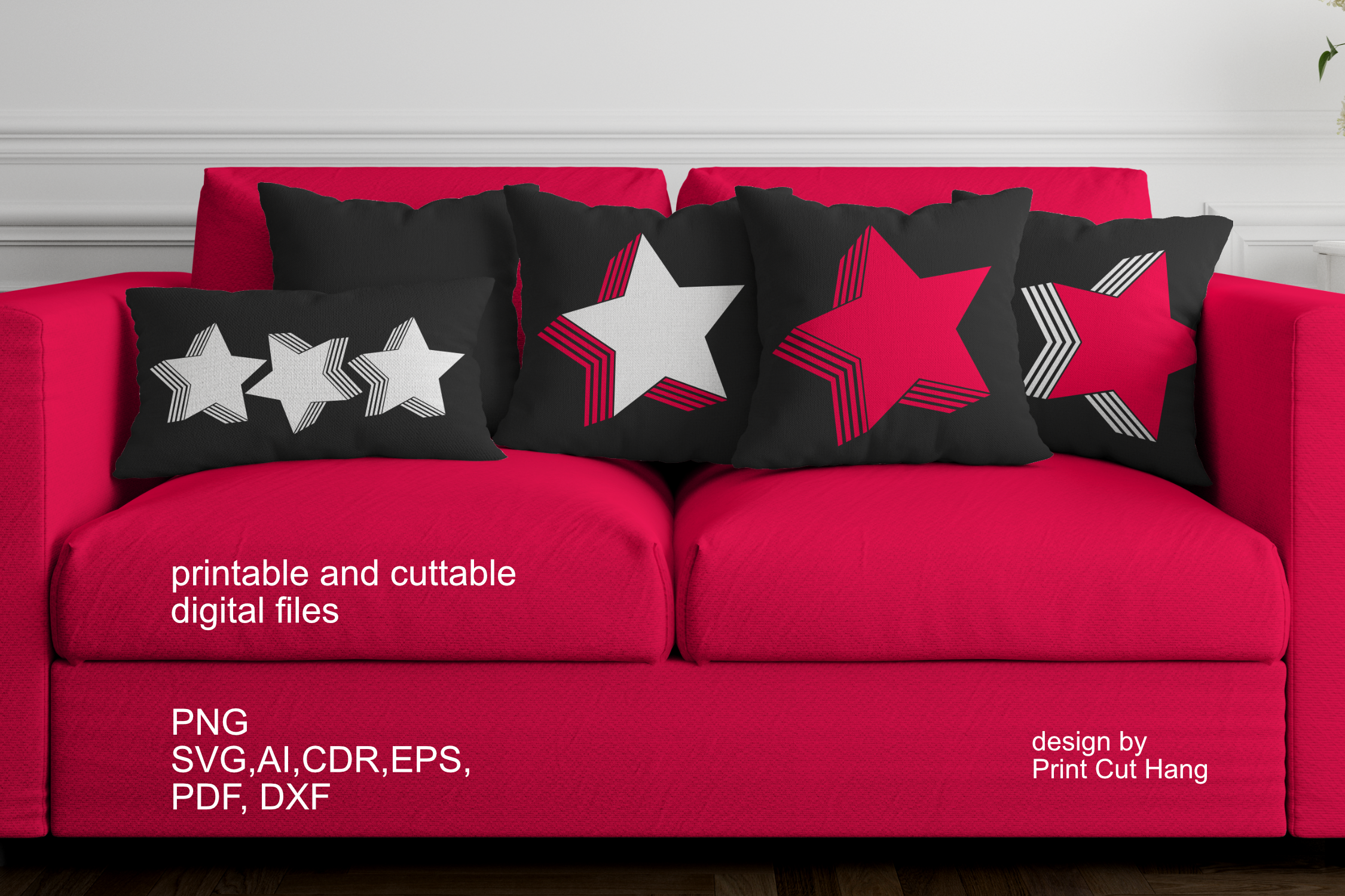 Download Free Star Design With Stripes In Shadow Graphic By Print Cut Hang for Cricut Explore, Silhouette and other cutting machines.