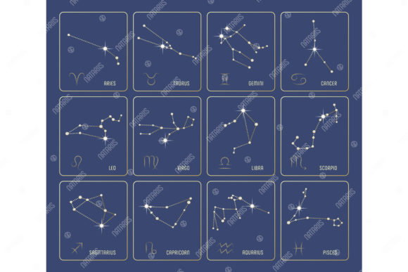 Set of 12 Precious Zodiac Constellations Graphic Illustrations By Natariis Studio